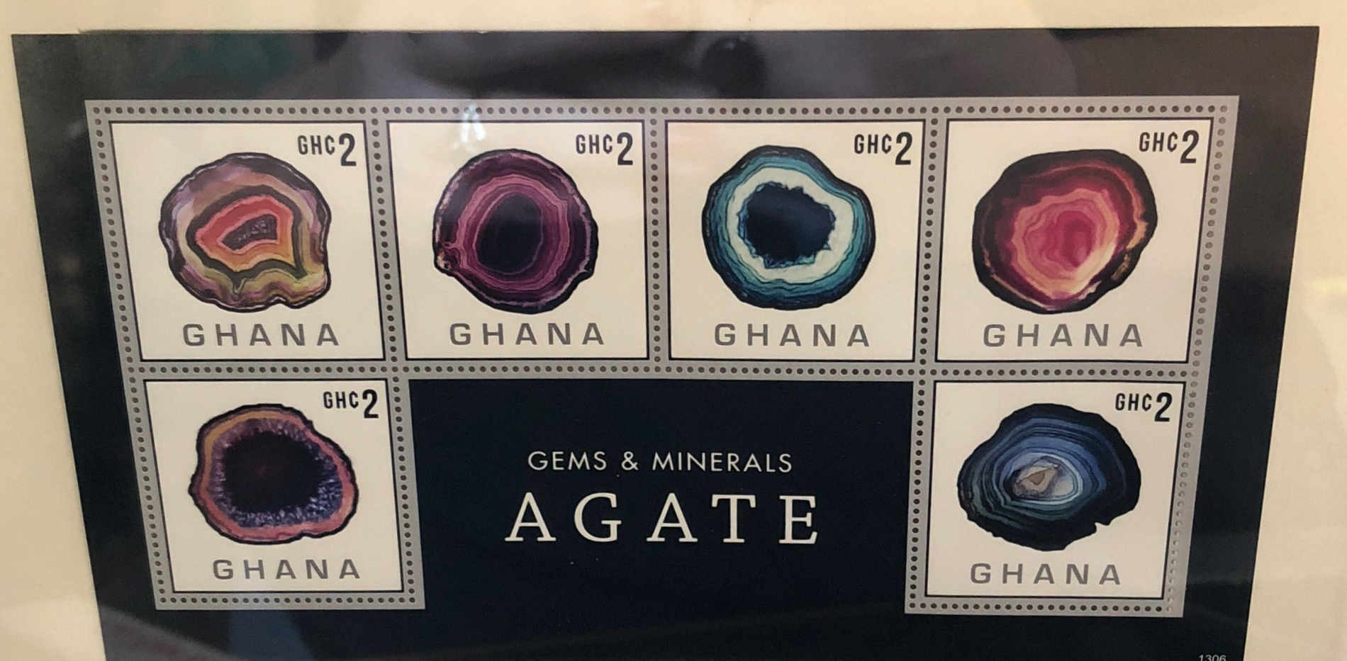 framed gemstone stamp art