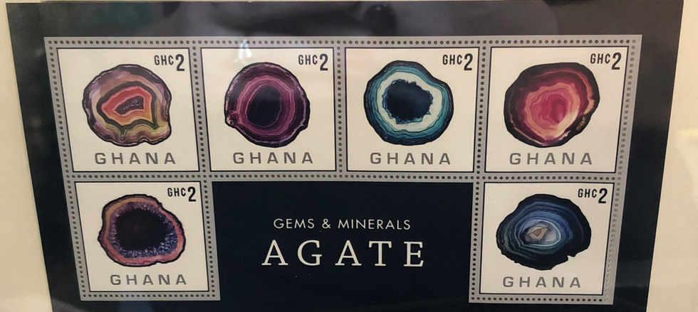 framed gemstone stamp art