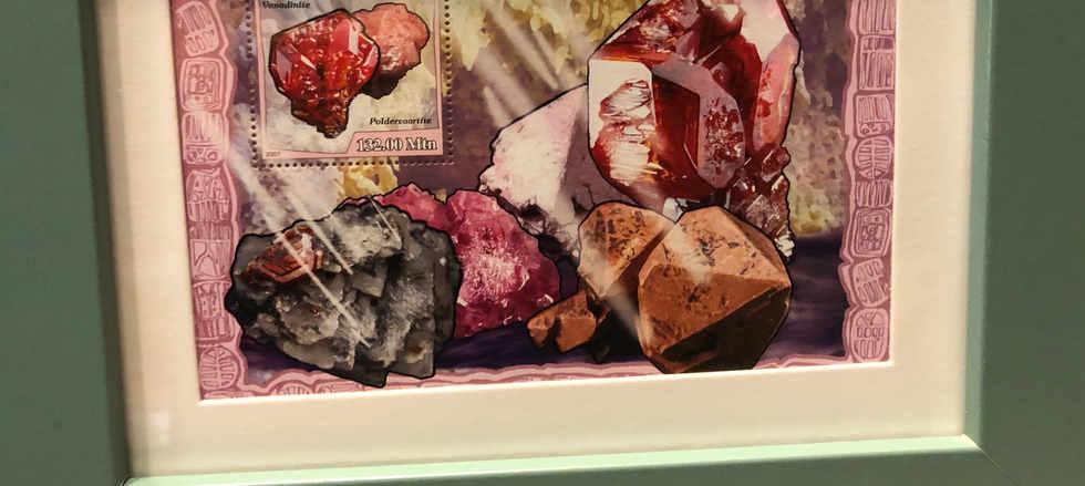 Framed rock and mineral art