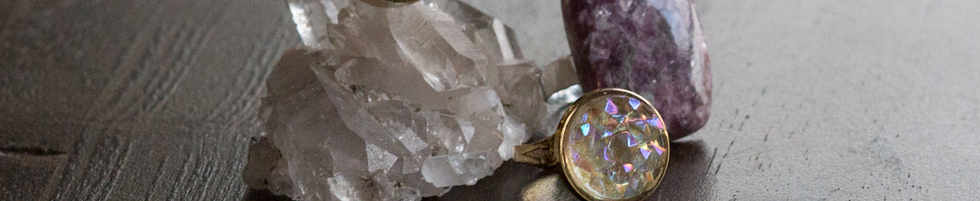 crystals, buttons and rings