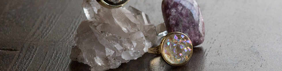 Antique button rings and gemstones