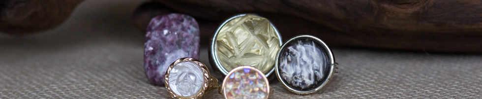 Gemstone & Button rings