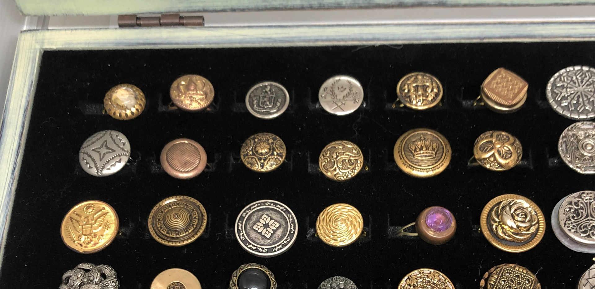 Vintage metal button rings
