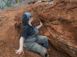 Gabby Nistico Rock hunting in North Caro