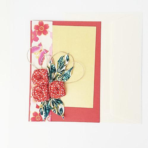 Cartes de vœux floral rouge