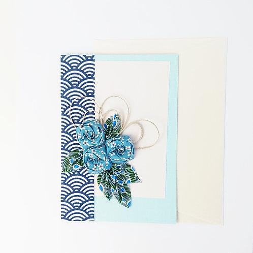 Cartes de vœux floral bleu