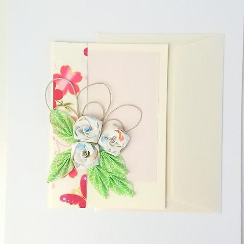 Cartes de vœux floral beige