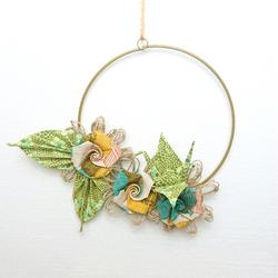 Couronne décorative origami en tissu