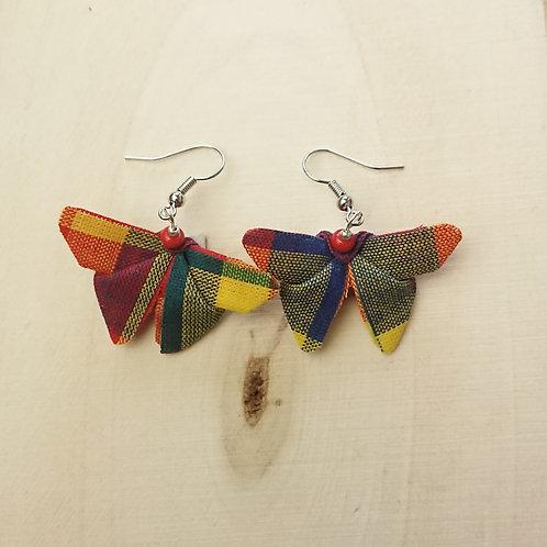 Boucle d'oreille papillon madras