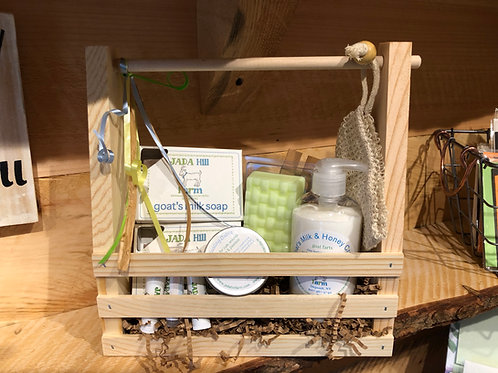 gift set in wooden carrier
