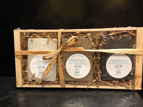 gift set of goats milk soaps in wooden crate