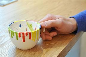 Beispiel einer fertig gebrannten, abholbereiten Tasse.