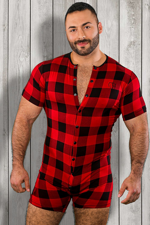RED PLAID BAMBOO ONESIE