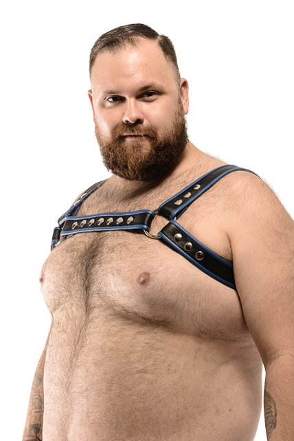 LEATHER HARNESS WITH COLOURED BIAS