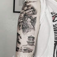 Chinese ink wash painting tattoo by Leo