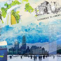 arte collàge en proceso oficina de inversiones inmobiliarias / Las Condes