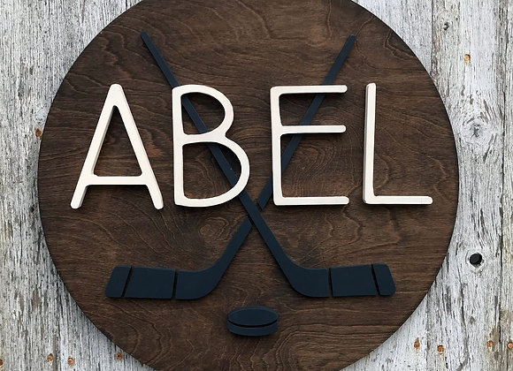 "18"" Hockey Custom Name Sign"