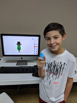 Jacob Showing off his 3D Model and Print