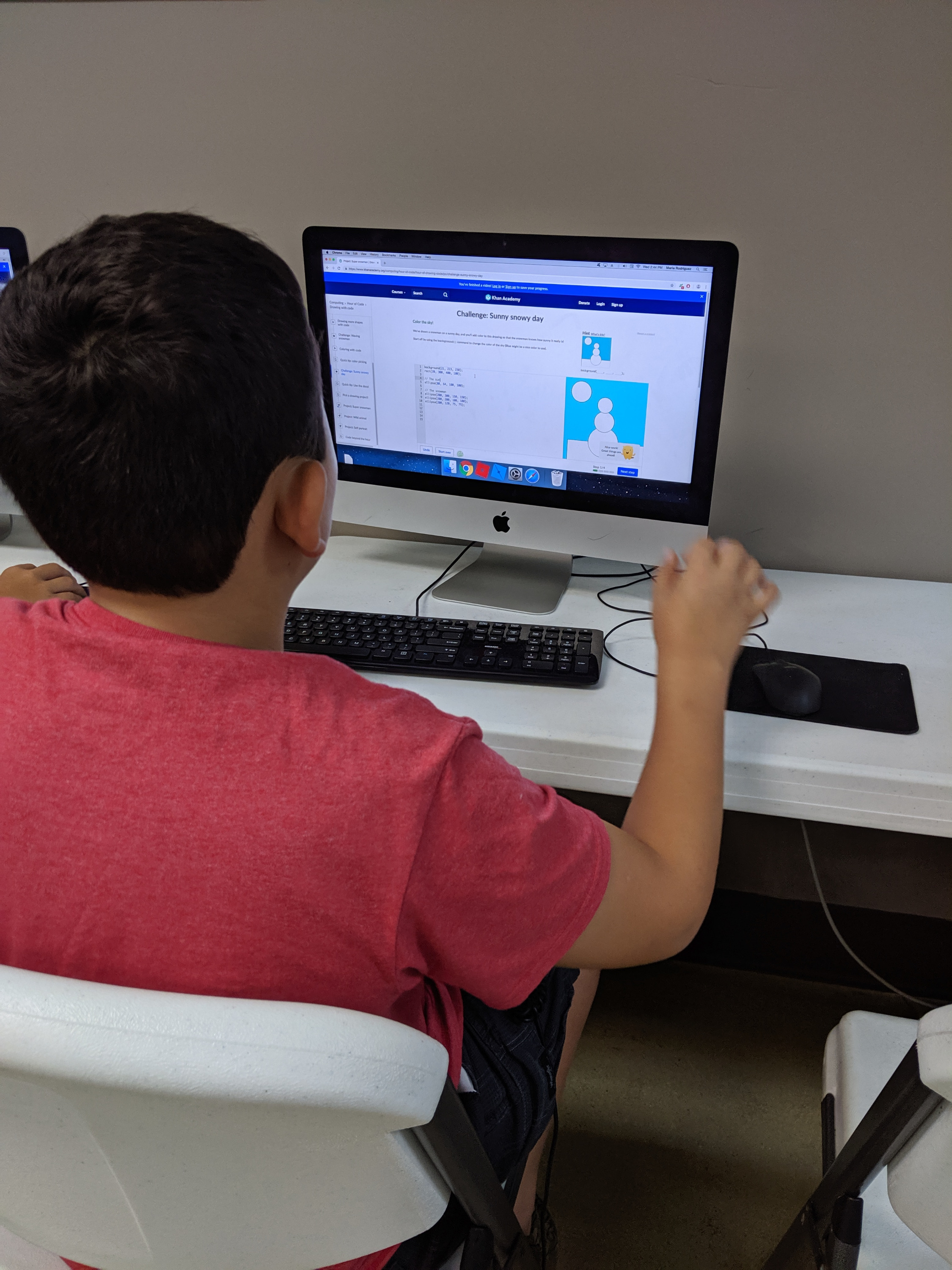 Camper Working on His Code Project