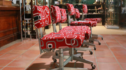 set of 6 Industrial Vintage Reupholstered Chairs