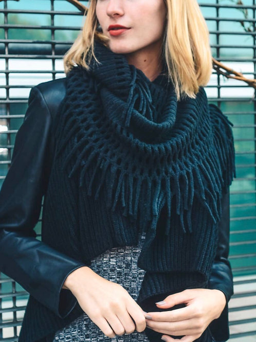 Lattice knit infinity scarf