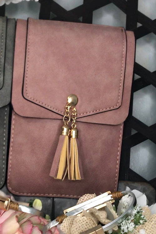 Crossbody purse with cell phone window