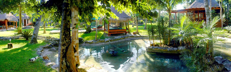 Ducks huts lake.jpg Pano Pool Palapa to
