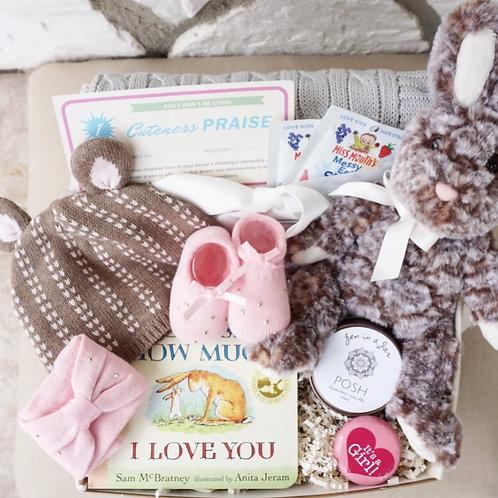 BABY BUNNY HAT & KNIT BLANKET GIFT BOX - Girl