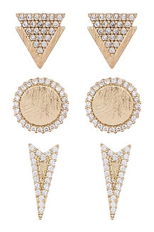 GEOMETRIC STUDS // 3 PAIR SET by Loren Olivia (p)