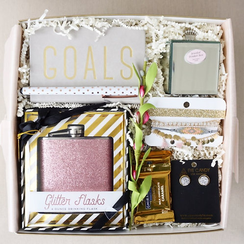 GLITTER GOALS JOURNAL, FLASK AND EARRING GIFT BOX