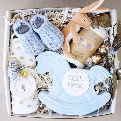 BABY KNIT BOOTIES & COIN BANK GIFT BOX - (Boy)