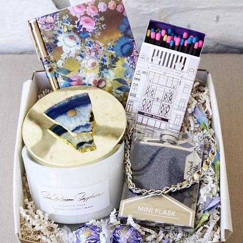 SAPPHIRE CANDLE & GLITTER FLASK GIFT BOX