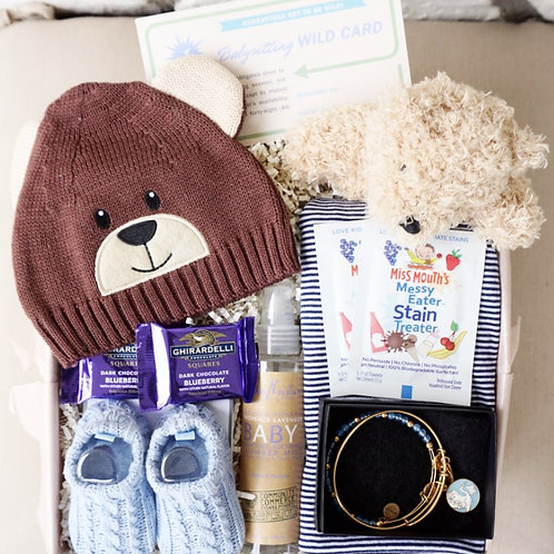 TEDDY BEAR BABY HAT & SOOTHING MIST GIFT BOX - Boy