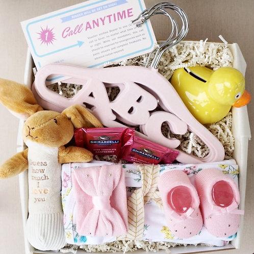 BABY HANGERS & BUNNY RATTLE GIFT BOX