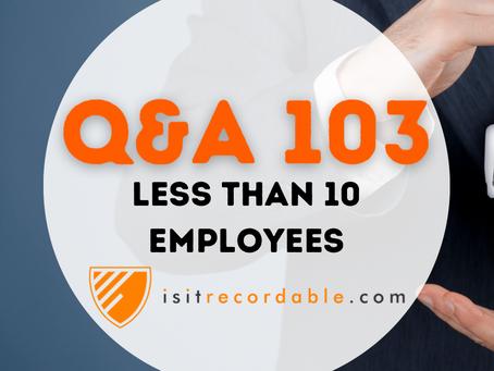 Q103 - Less than 10 Employees