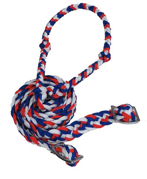 Red, blue, white barrel reins