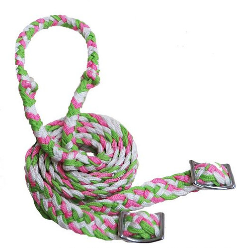 Lime green, white and pink barrel reins