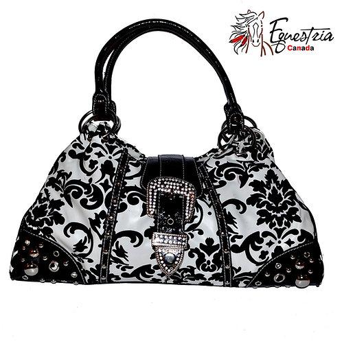 Sac à main noir et blanc / Black and white handbag (H3103)