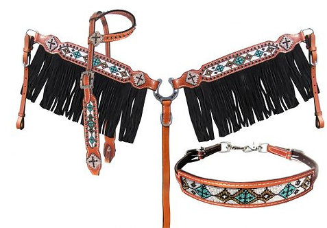 Headstall, breastcollar & wither strap (13957)