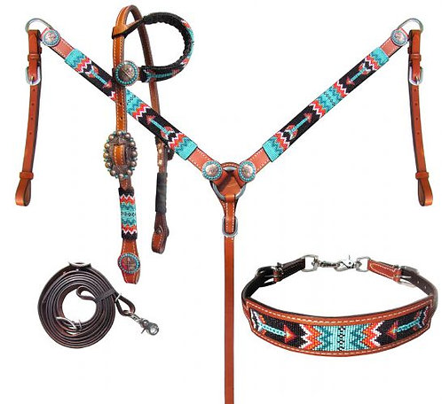 Headstall, breastcollar & wither strap (14028)