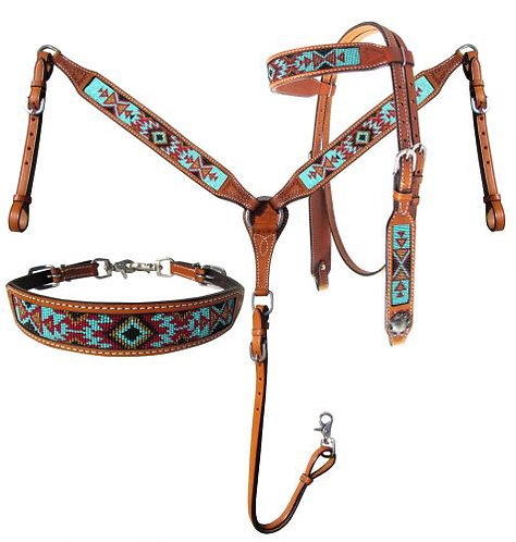 Headstall, breastcollar and wither strap set (14031)