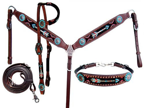 Bride bricole releveur / Headstall breastcollar and wither strap (13850)