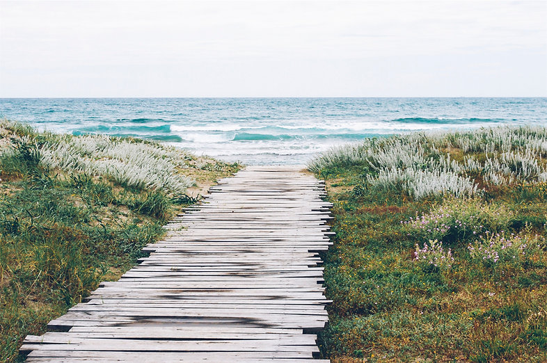 Walk way to meditation on beach with waves. Life Coach