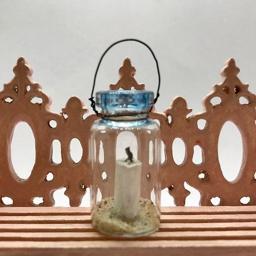 Photophore miniature avec sable, maison de poupée