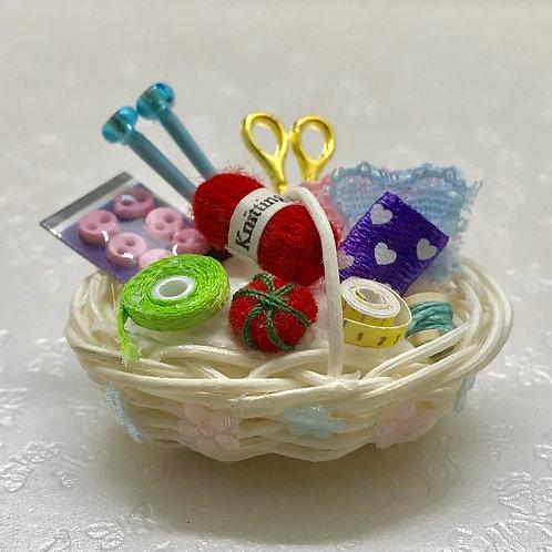 Kit corbeille couture miniature, maison de poupée, diorama, scènes de vie