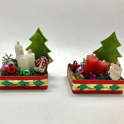 Arrangement de bougies miniature Noël, pour maison de poupée
