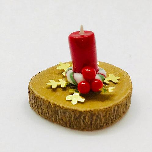 Bougie sur tronc miniature Noël pour maison de poupée