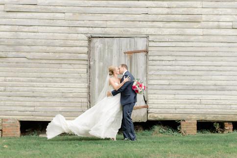 Custom silk organza ballgown wedding dress with cathedral train