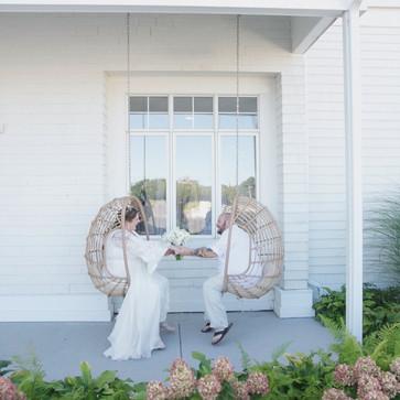 Custom silk chiffon bridal gown with Lyon lace