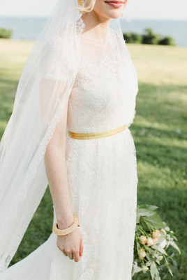 Custom French lace wedding gown